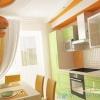 Колір штор для кухні з салатовим стінами і гарнітуром кольору беж-венге