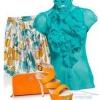 Яку блузу і взуття підібрати для прямої синьо-білої спідниці