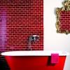 Червона плитка в інтер`єрі ванної кімнати (26 фото)