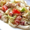 Салат з пекінською капустою, куркою і кальмарами